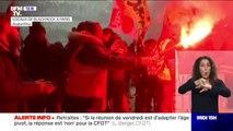 Retraites: des cheminots allument des fumigènes dans les locaux de BlackRock France