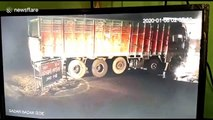 Truck crash on north Indian road into transformer causes large electrical fire