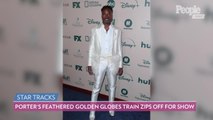 Billy Porter's Massive Feathered Train at the 2020 Golden Globes Zips Off for the Show