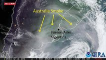 NOAA Goes-16 Shows Australian Wildfire Smoke Over Argentina