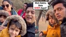 So Cute !!! Ritesh Deshmukh With Wife Genelia And Kids ENJOY Jungle Safari In Jaipur