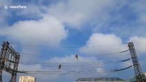 Witness the extreme duties of high-voltage power line electric workers in Vietnam