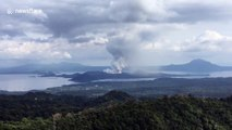 Philippines Taal Volcano spews steam and ash