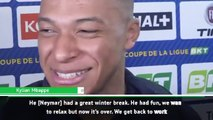 Neymar even tackles for PSG now, says Mbappe
