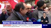 """""""Il y a de quoi s'interroger sur la volonté du gouvernement de prendre en compte l'avis des organisations syndicales"""" déclare Philippe Martinez (CGT) en tête du cortège parisien"""