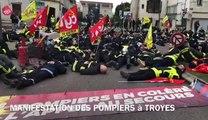 Manif pompiers à Troyes par ça bouge à Troyes