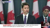 """Crash du Boeing en Iran: """"Selon nos informations, l'avion a été abattu par un missile iranien"""" déclare Justin Trudeau"""