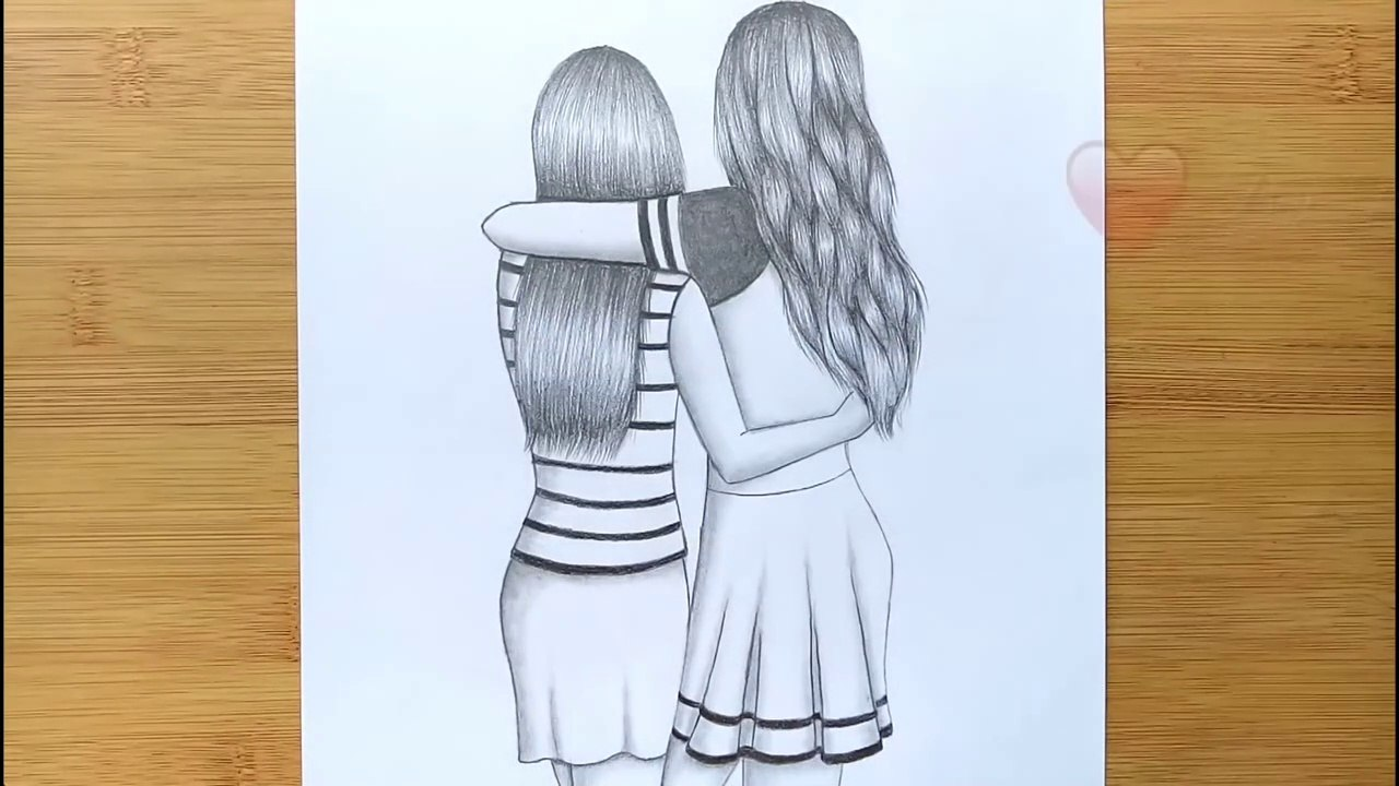 Best Friends Pencil Sketch Tutorial How To Draw Two Friends Hugging Each Other Video Dailymotion