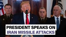 Hear President Trump respond to Iran missile attacks | Newsbreak