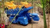 Excavator Bulldozer, Dump Truck Toy Video for Children Transport Trucks Crossing on Deep Water