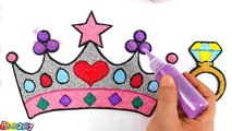 Coloring Princess Crown with Foam clay for Kids, Children