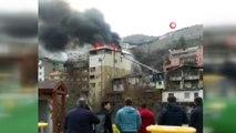 Artvin'de 6 katlı binanın çatı katında çıkan yangın paniğe neden oldu