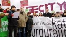 Ya Kanal Ya İstanbul Koordinasyonu'nun Küçükçekmece'de yaptığı basın açıklaması
