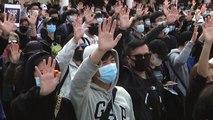 """대만 대선에 고무된 홍콩인들 """"직선제 도입하라"""" 시위 / YTN"""