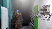 건물 지하 사진관에서 불...5명 연기 마셔 / YTN