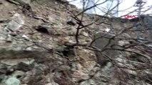 Trabzon tahliye edilen riskli okulun istinat duvarı çöktü