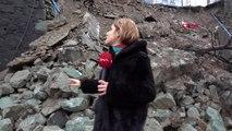 Trabzon tahliye edilen riskli okulun istinat duvarı çöktü-3