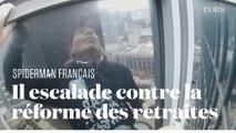 """Retraites : Le """"Spiderman français"""" Alain Robert escalade la tour Total en soutien aux grévistes"""