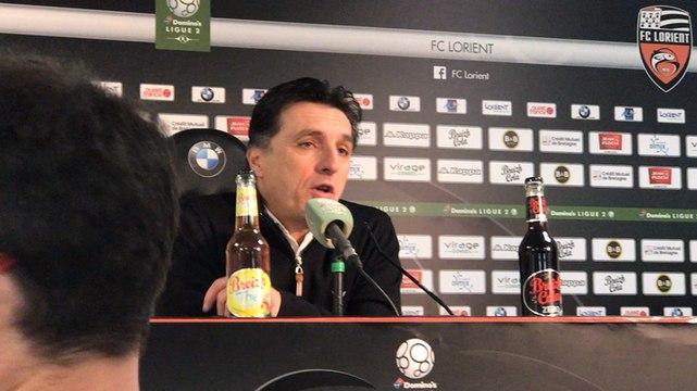 La réaction de Christophe Pelissier après la victoire de Lorient face à Caen (2-1)