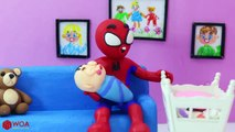 Funny Play Doh Stop Motion  Spiderman Babysitting Baby Sleeping  Play Doh Cartoons For Kids