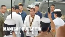 President Duterte arrives at Pier 13 in South Harbor Manila to grace the sendoff of troops
