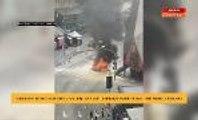 Sebuah kereta rentung dijilat api berdekatan pusat membeli belah