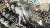 Imágenes aéreas del incendio en la planta petroquímica de Tarragona