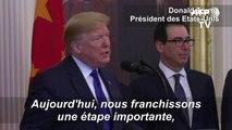 """Donald Trump salue un accord """"historique"""" entre les Etats-Unis et la Chine"""
