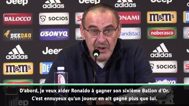 Juventus - Sarri rassure un Ronaldo malade et forfait : ''Je vais l'aider à gagner un 6ème Ballon d'Or''