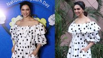 Deepika Padukone Looks Stunning In Her black and white polka dot maxi with a retro hairdo |Boldsky
