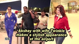 Akshay with wife Twinkle makes a stylish appearance at the airport