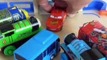 Spiderman. Thomas. Disney Cars. Tayo small bus garage toy  cockroach monster story