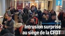 Les images de l'intrusion « surprise » au siège de la CFDT