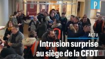 Les images de l'intrusion « surprise » au siège de la CFDT