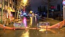 Kanalizasyon çalışmasında boru patladı, cadde trafiğe kapatıldı