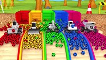 Learn Colors with Construction Vehicle and Surprise Soccer Ball in Magic Slide Pool for Kids