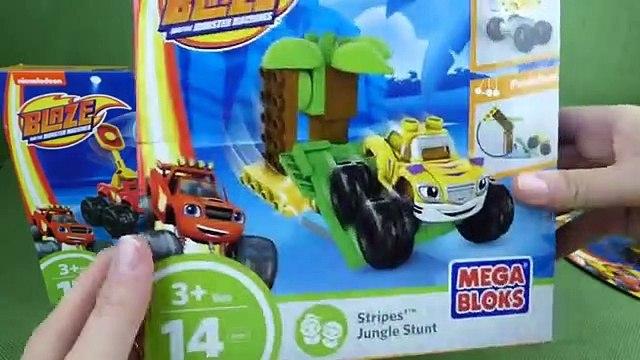 Blaze and the Monster Machines Mega Bloks Toys Blaze Truckball Team Up Stripes Jungle Stunt Set Toys