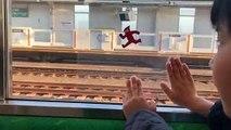 Un enfant s'amuse dans un train