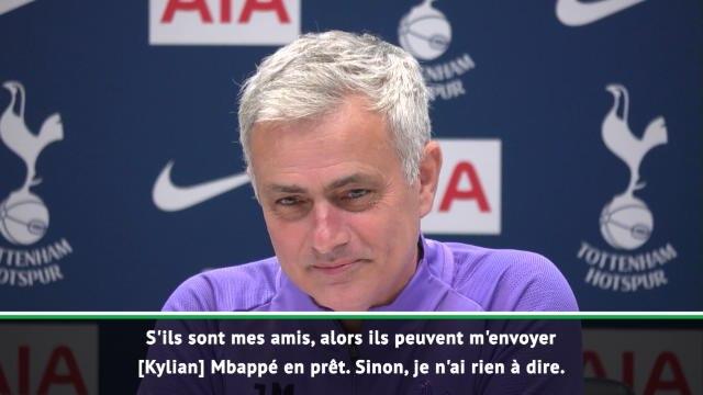 Tottenham - Mourinho ironise sur un prêt de Mbappé