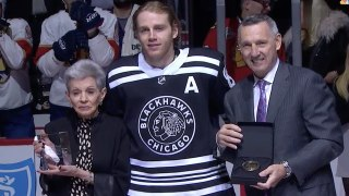 Blackhawks celebrate Patrick Kane for reaching 1,000 points