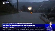 Tempête Gloria: la route est inondée à Saint-Arnac dans les Pyrénées-OrientalesTempête Gloria: la route est inondée à Saint-Arnac dans les Pyrénées-Orientales