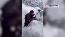 Tempête Gloria: il essaye de dégager un couloir de circulation submergé par la neige