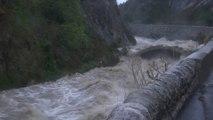 Tempête Gloria: les images de l'Agly en crue dans les Pyrénées-Orientales