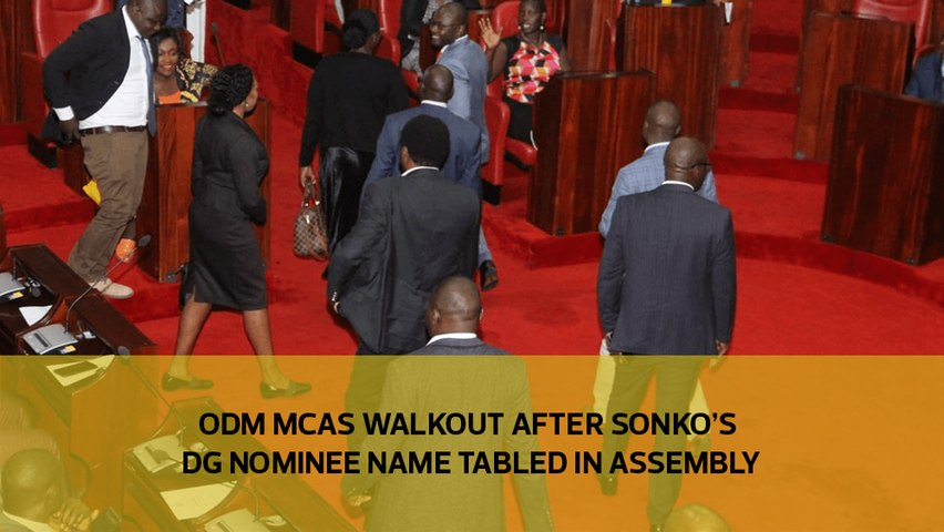 ODM MCAs walkout after Sonko's DG nominee name tabled in assembly