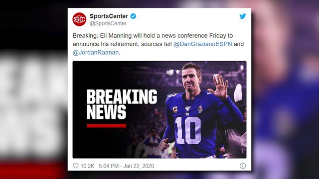 Breaking News: Eli Manning Is Retiring