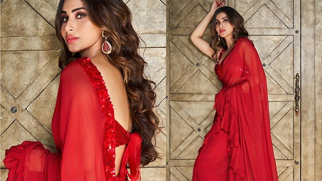 Mouni Roy Looks Glamorous In Red Saree ; Watch Video | Boldsky