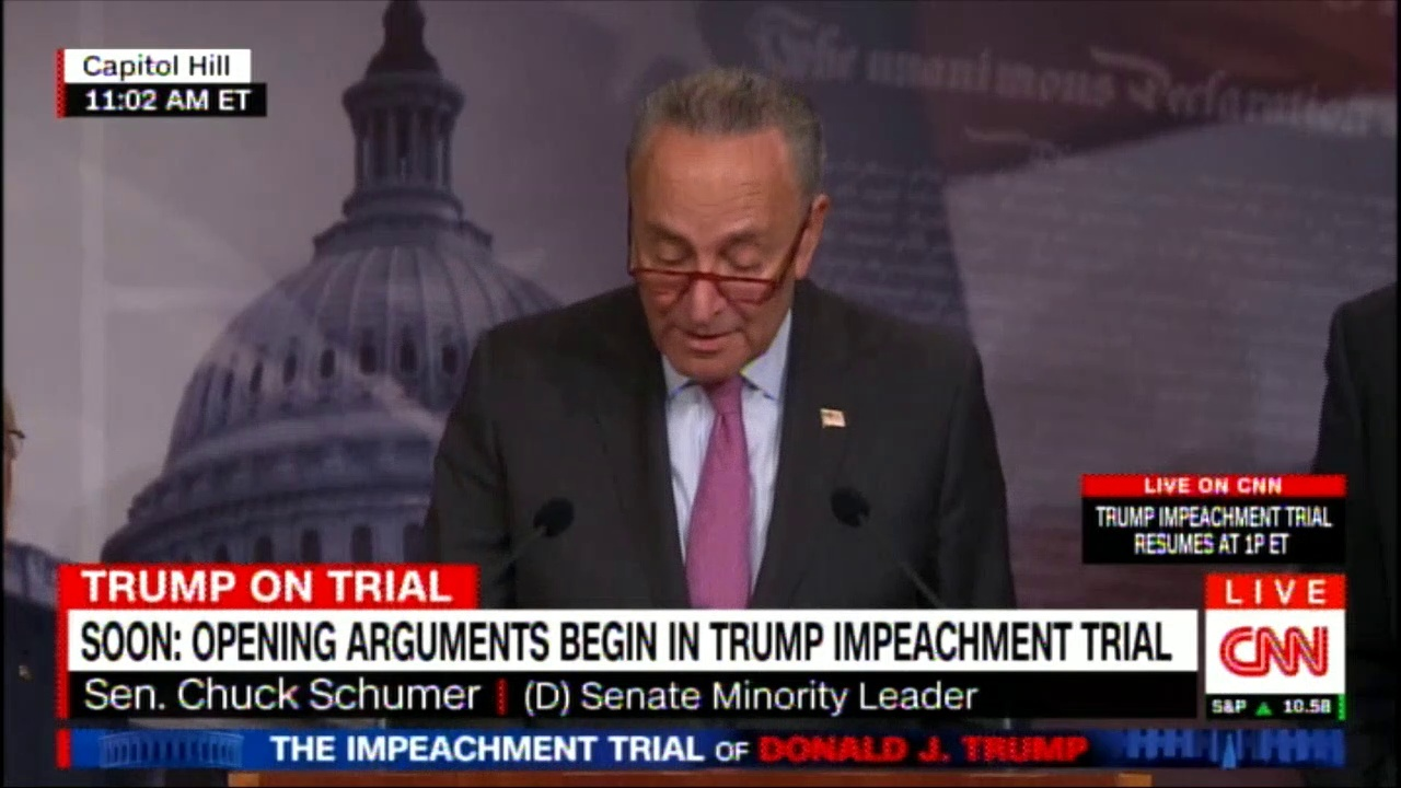 Sen. Chuck Schumer news conference after opening arguments begin in Donald Trump impeachment trial. #Breaking #News #DonaldTrump #SecChuckSchumer