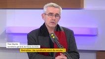 """Réforme des retraites: le secrétaire général deFO Yves Veyrier veut que """"tous les salariés du secteur privé soient dans la grève"""""""