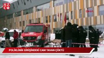 Poliklinik girişindeki cam tavan çöktü