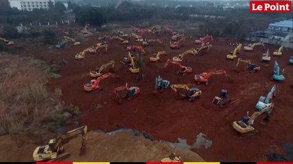 Les images du chantier de l'hôpital antivirus  de Wuhan qui doit être construit en 10 jours